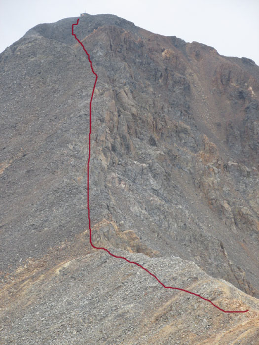 From The West Peak You Have To Downclimb Saddle Connecting Two Peaks And Then Climb Straight Up Only Technical Section Is Actually