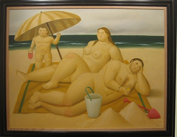 Family on the Beach by Fernando Botero