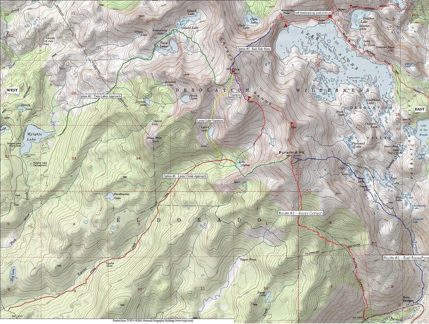 on desolation wilderness map
